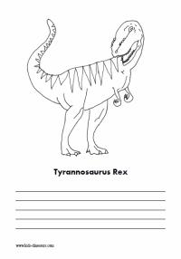 Tyrannosaurus Rex Dinosaur Coloring Sheet