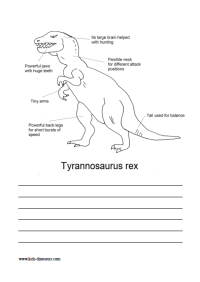 Dinosaur T Rex Facts Coloring Sheet