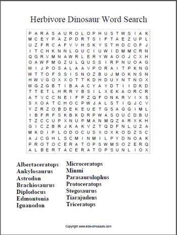 Herbivore dinosaur word search
