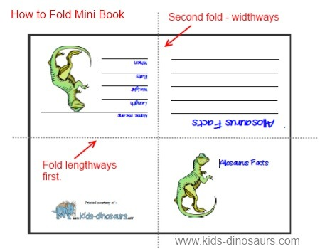 how to fold your dinosaur mini book - Printable Books For Kids