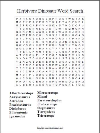 Herbivore dinosaur word search